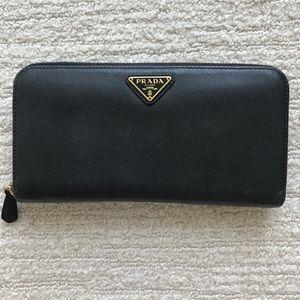 Prada Black Saffiano Zip Around Wallet Clutch